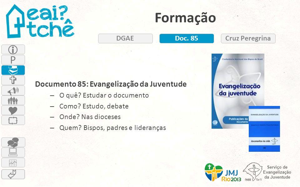 Formação DGAE. Doc. 85. Cruz Peregrina.  Documento 85: Evangelização da Juventude. O quê Estudar o documento.