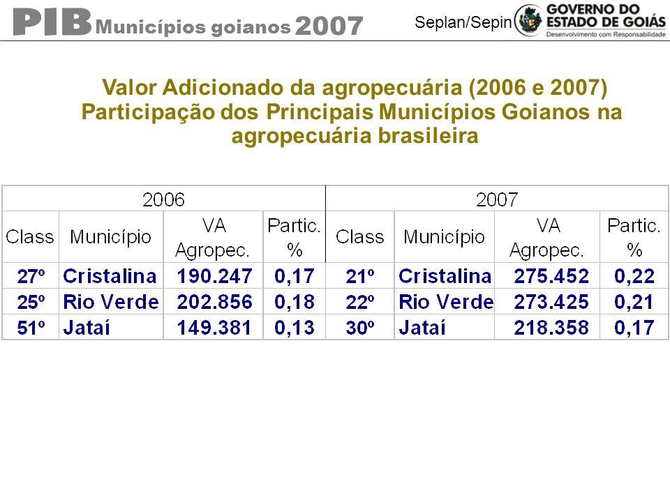Valor Adicionado da agropecuária (2006 e 2007)