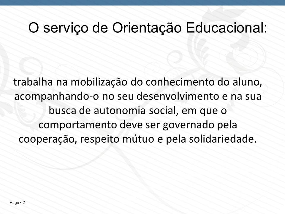 O serviço de Orientação Educacional:
