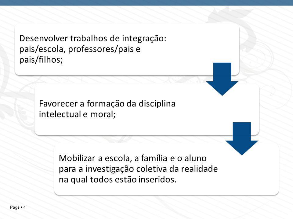 Desenvolver trabalhos de integração: pais/escola, professores/pais e pais/filhos;