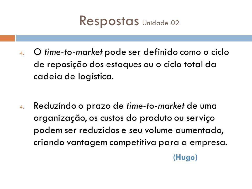 Respostas Unidade 02 O time-to-market pode ser definido como o ciclo de reposição dos estoques ou o ciclo total da cadeia de logística.