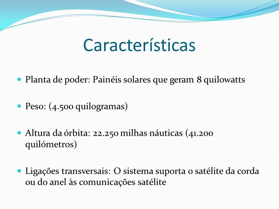 Características Planta de poder: Painéis solares que geram 8 quilowatts. Peso: (4.500 quilogramas)