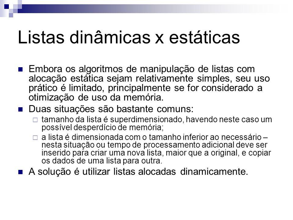 Listas dinâmicas x estáticas