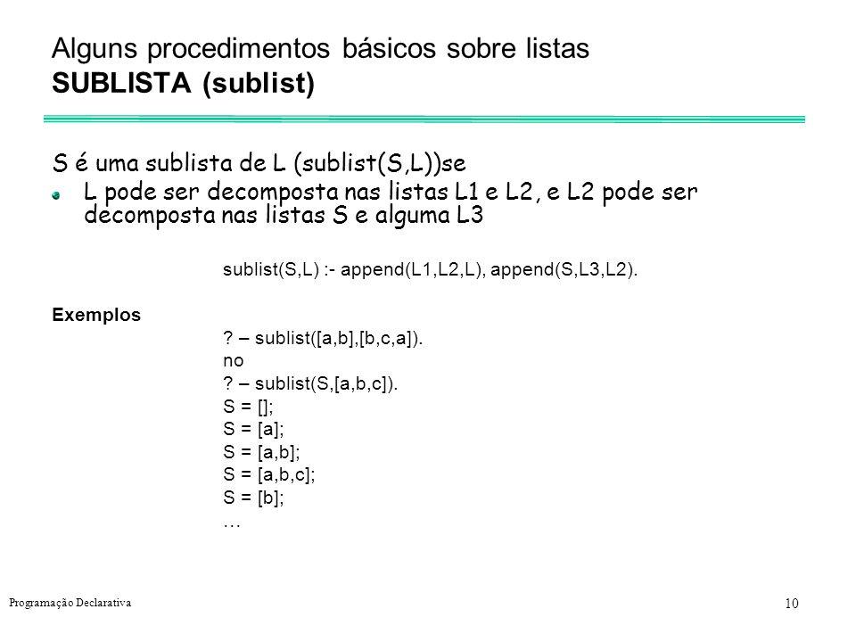 Alguns procedimentos básicos sobre listas SUBLISTA (sublist)