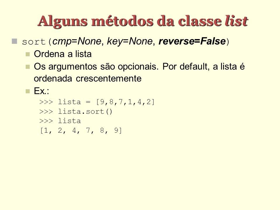 Alguns métodos da classe list