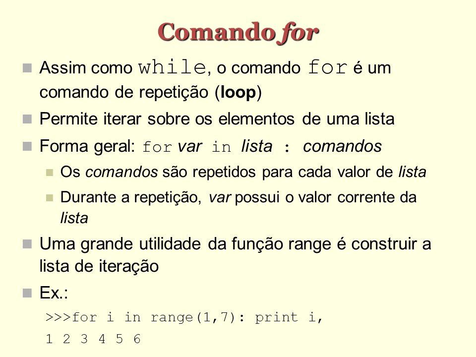 Comando for Assim como while, o comando for é um comando de repetição (loop) Permite iterar sobre os elementos de uma lista.