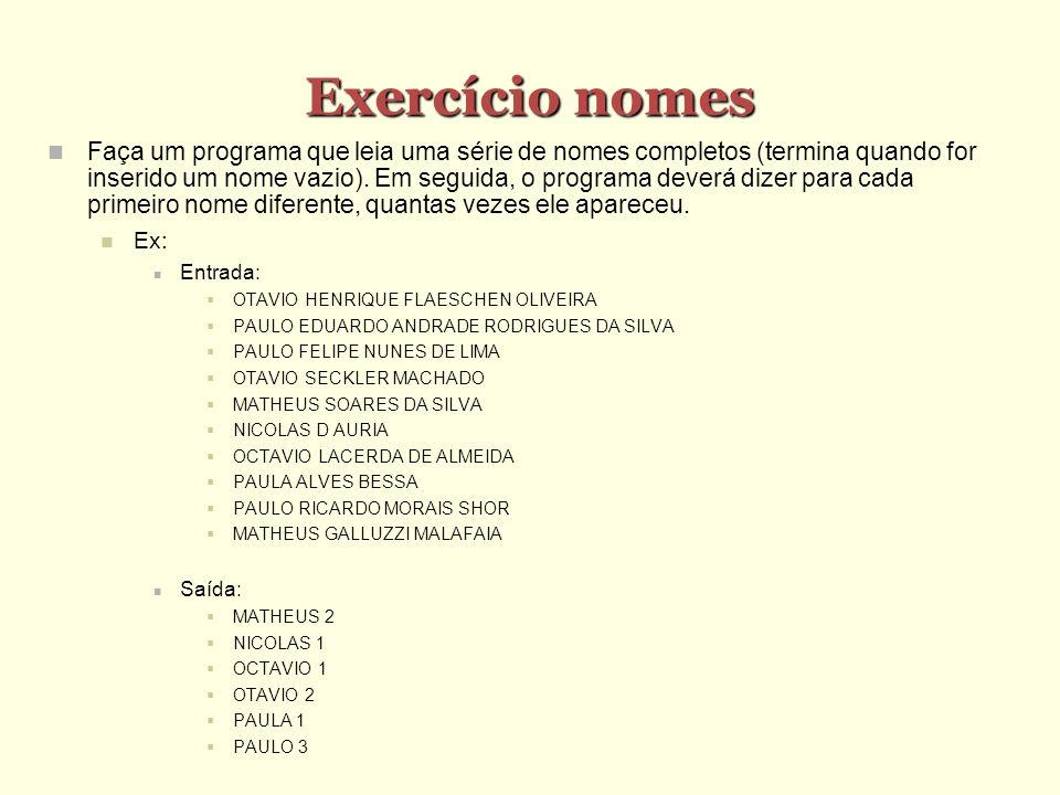 Exercício nomes