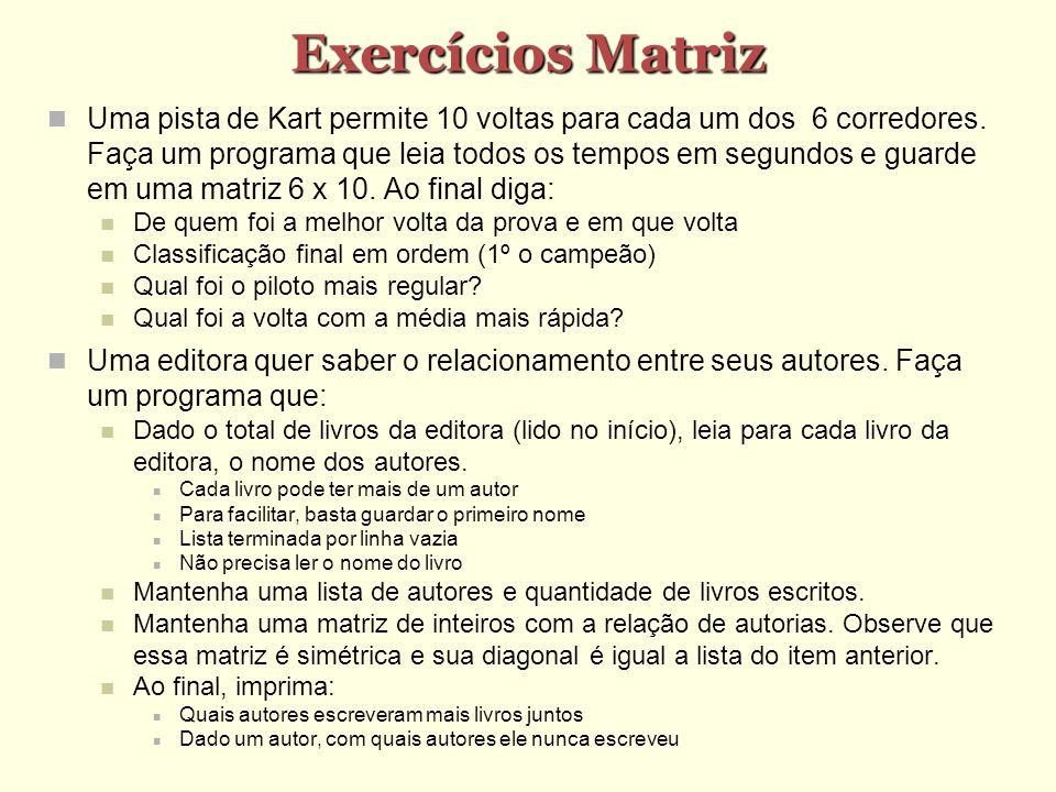 Exercícios Matriz