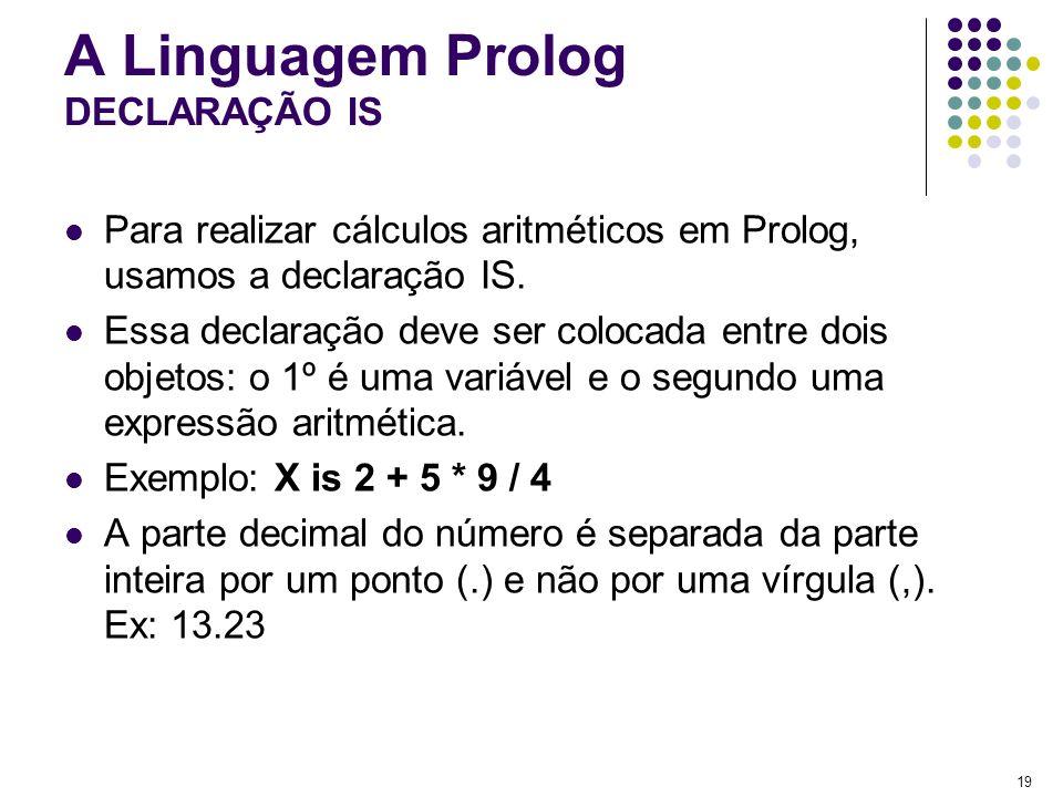 A Linguagem Prolog DECLARAÇÃO IS