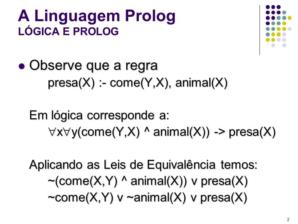 A Linguagem Prolog LÓGICA E PROLOG