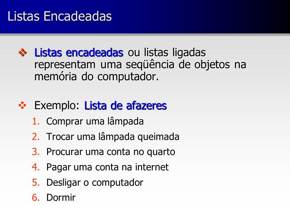 Listas Encadeadas Listas encadeadas ou listas ligadas representam uma seqüência de objetos na memória do computador.