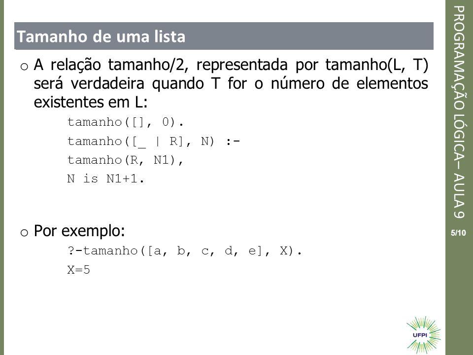 Tamanho de uma lista A relação tamanho/2, representada por tamanho(L, T) será verdadeira quando T for o número de elementos existentes em L: