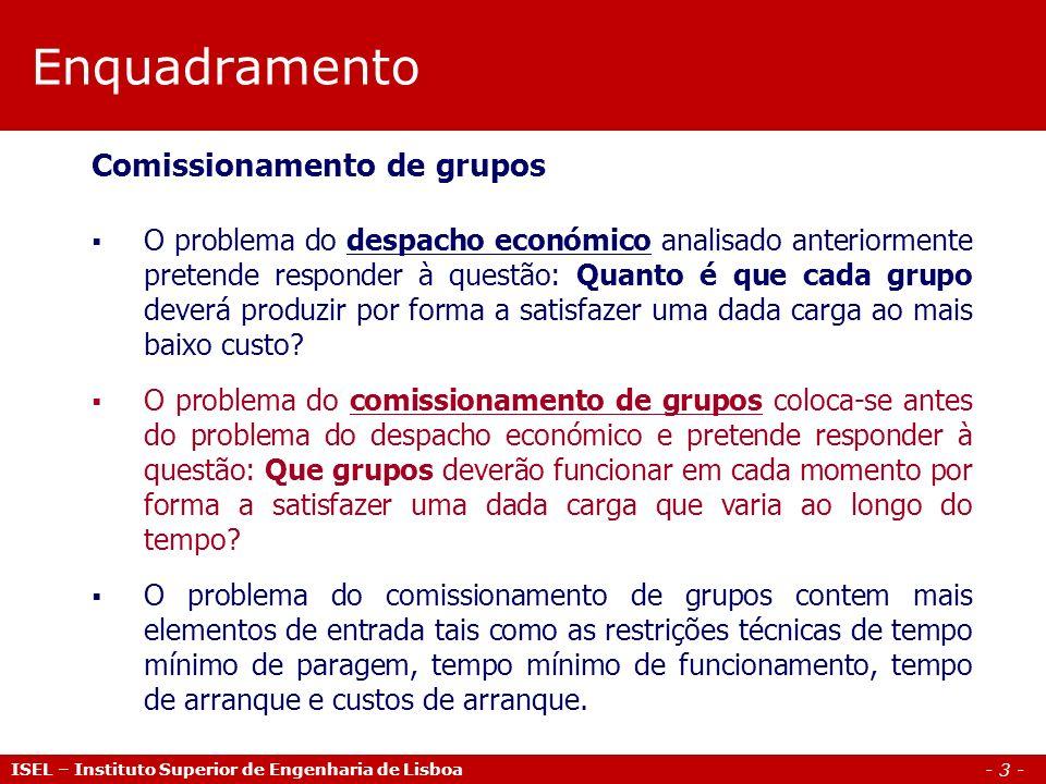 Enquadramento Comissionamento de grupos