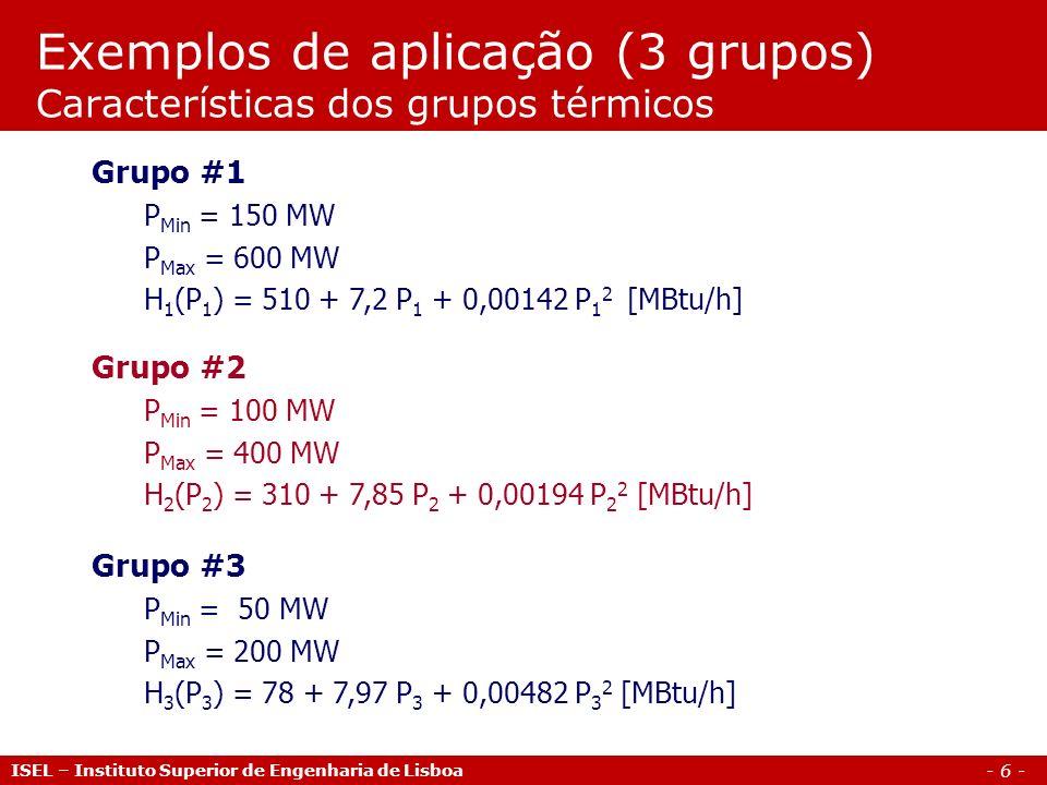Exemplos de aplicação (3 grupos) Características dos grupos térmicos