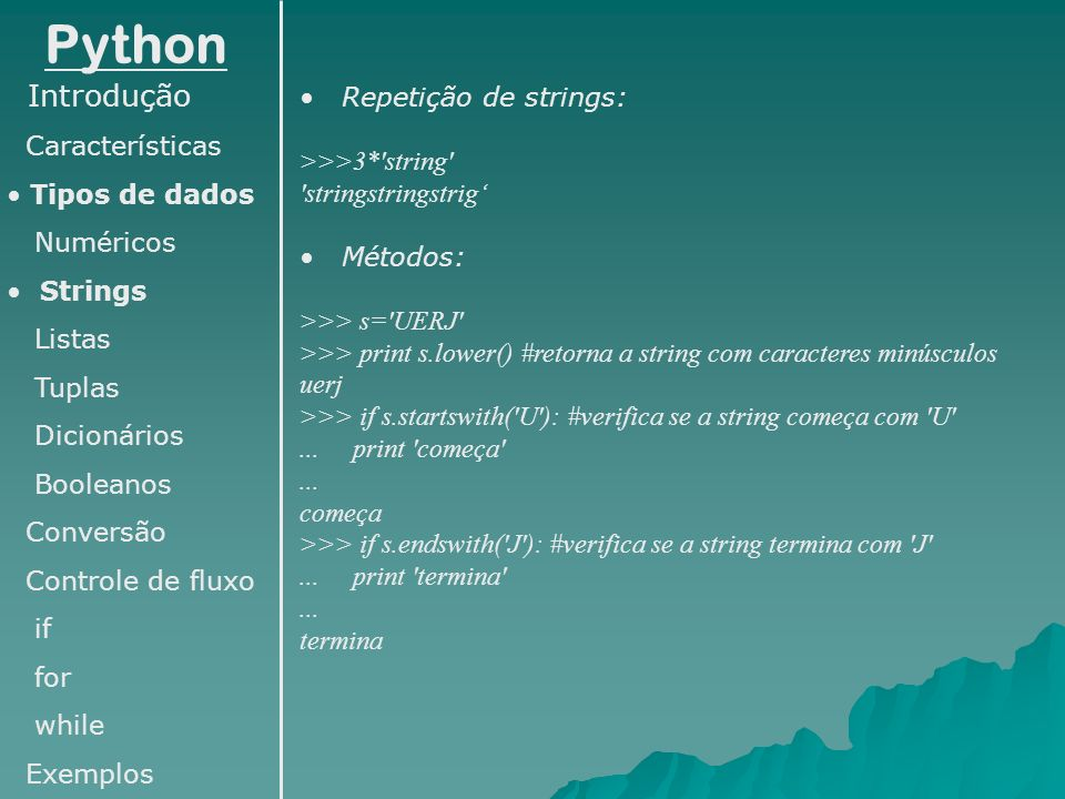 Python Introdução Repetição de strings: Características