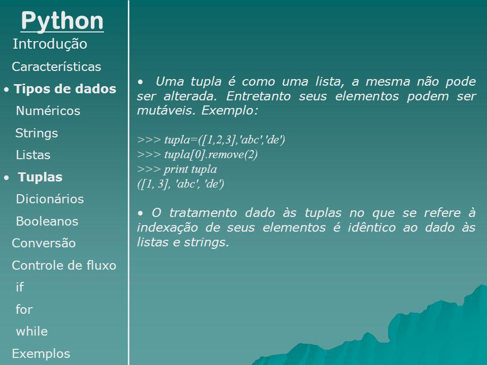Python Introdução Características Tipos de dados Numéricos