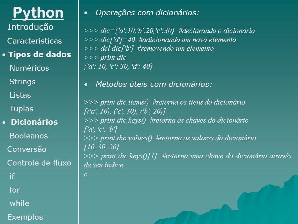 Python Introdução Operações com dicionários: