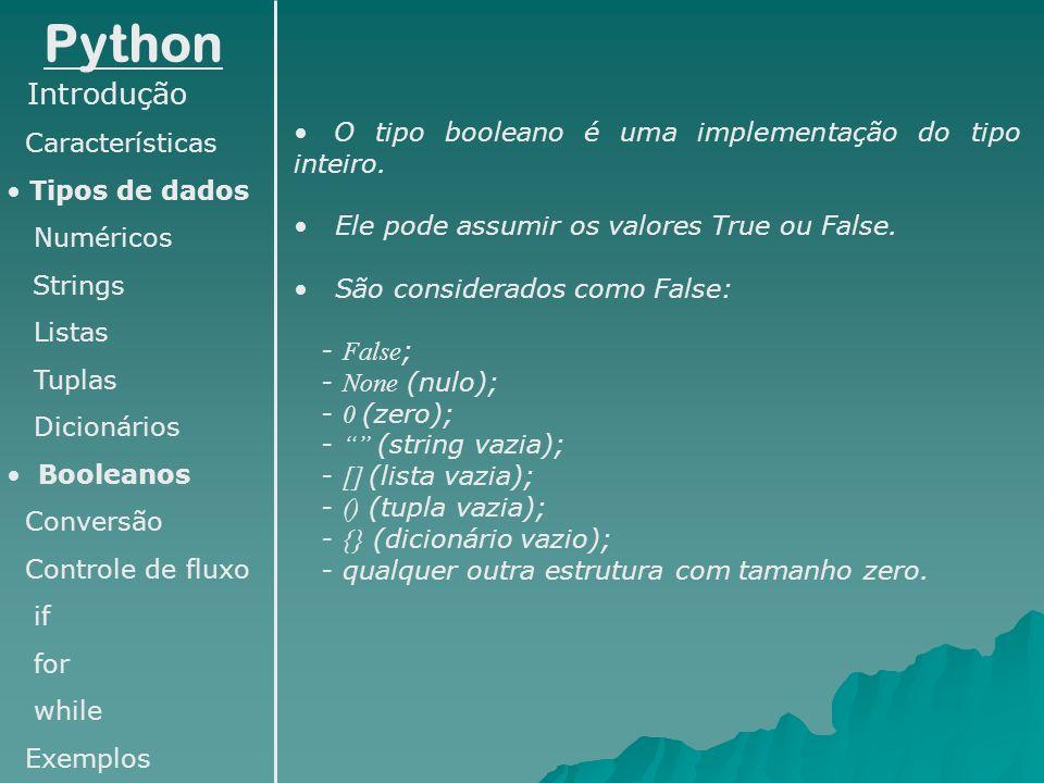 Python Introdução Características Tipos de dados