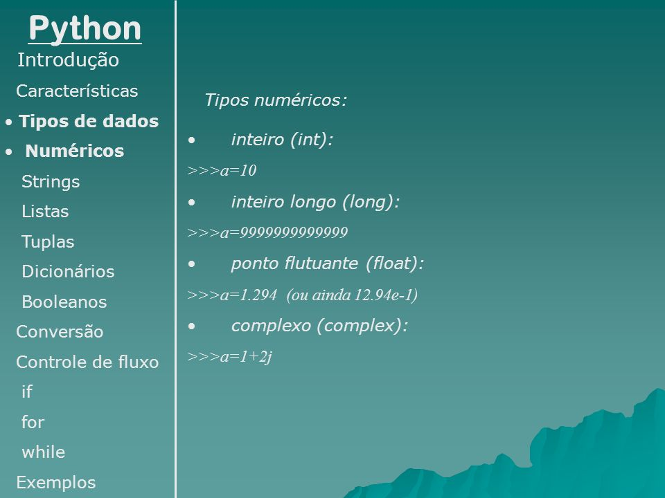 Python Introdução Características Tipos de dados Tipos numéricos: