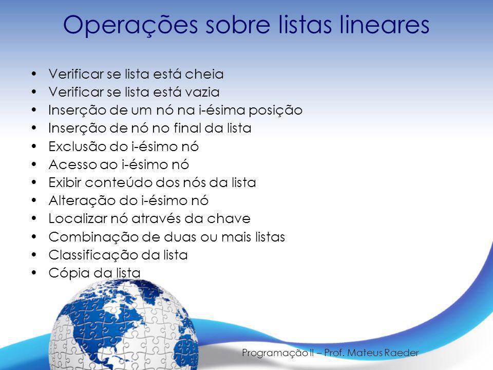 Operações sobre listas lineares
