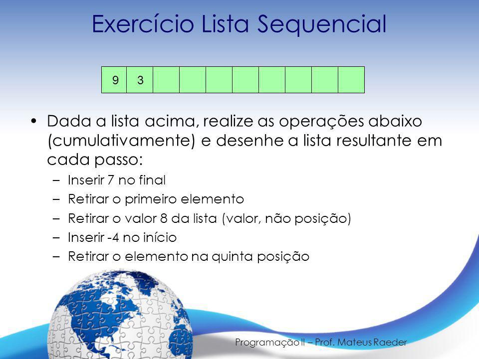 Exercício Lista Sequencial