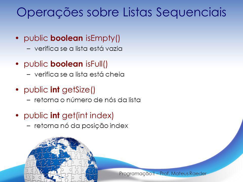 Operações sobre Listas Sequenciais