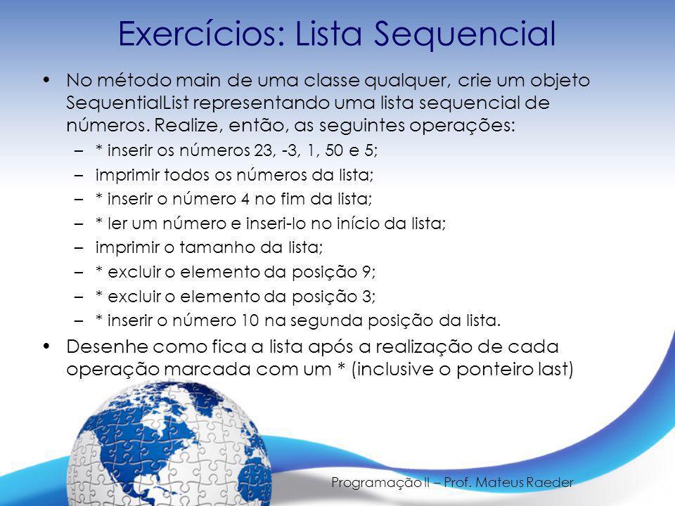 Exercícios: Lista Sequencial