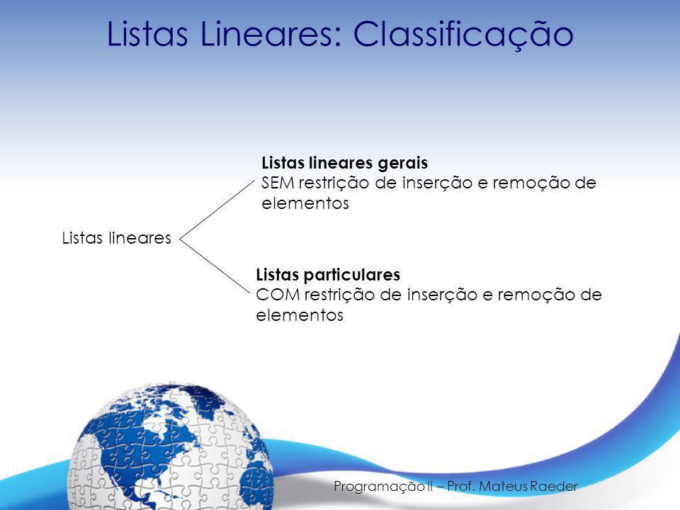 Listas Lineares: Classificação