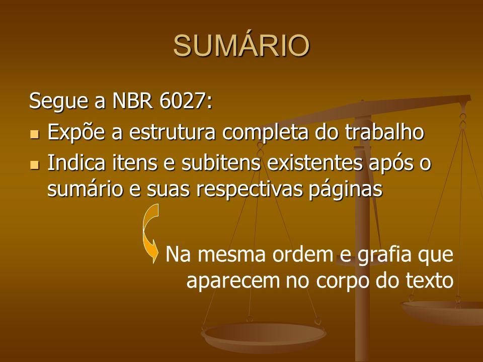 SUMÁRIO Segue a NBR 6027: Expõe a estrutura completa do trabalho
