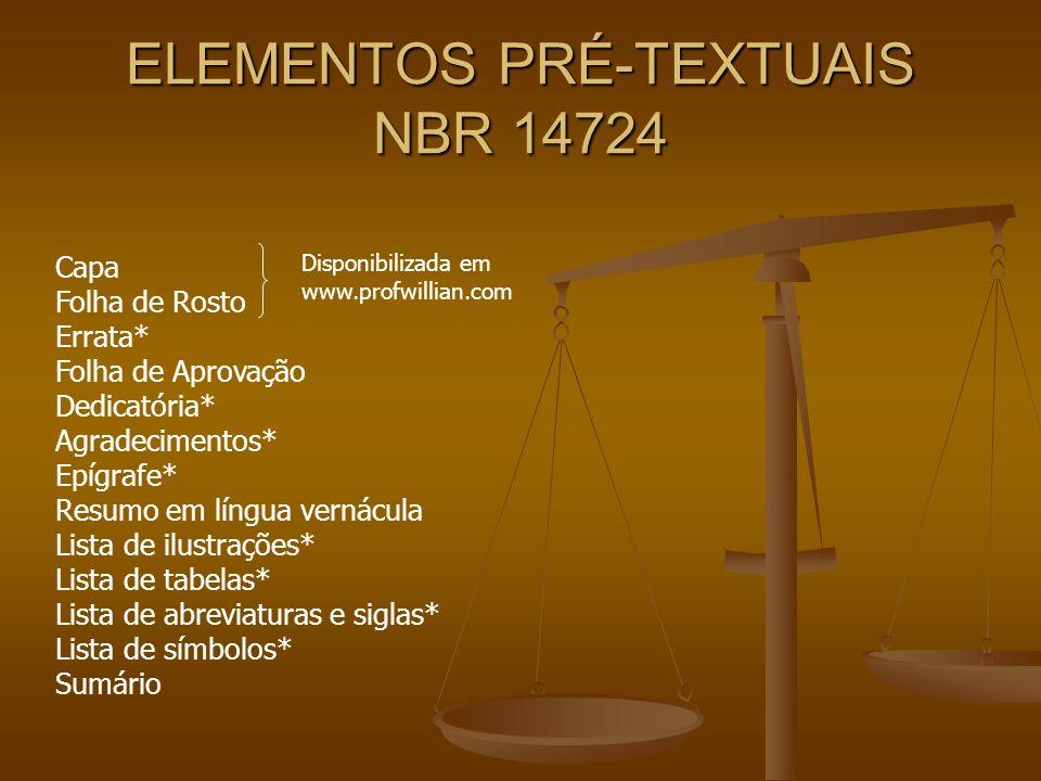 ELEMENTOS PRÉ-TEXTUAIS NBR 14724
