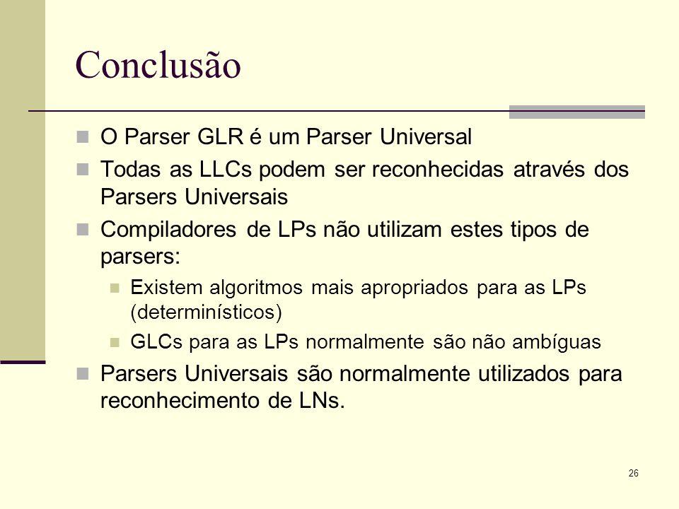 Conclusão O Parser GLR é um Parser Universal