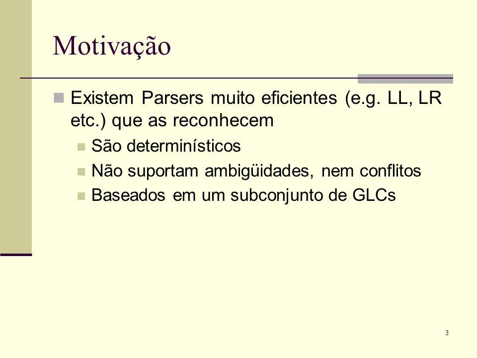 Motivação Existem Parsers muito eficientes (e.g. LL, LR etc.) que as reconhecem. São determinísticos.
