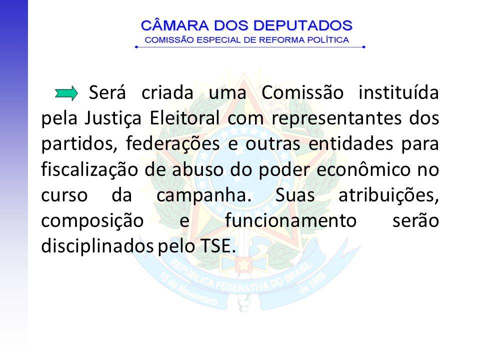 Será criada uma Comissão instituída pela Justiça Eleitoral com representantes dos partidos, federações e outras entidades para fiscalização de abuso do poder econômico no curso da campanha.