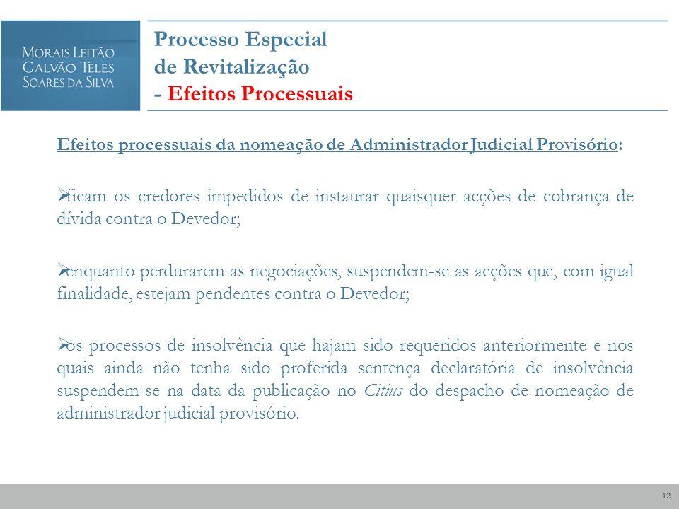 Processo Especial de Revitalização - Efeitos Processuais