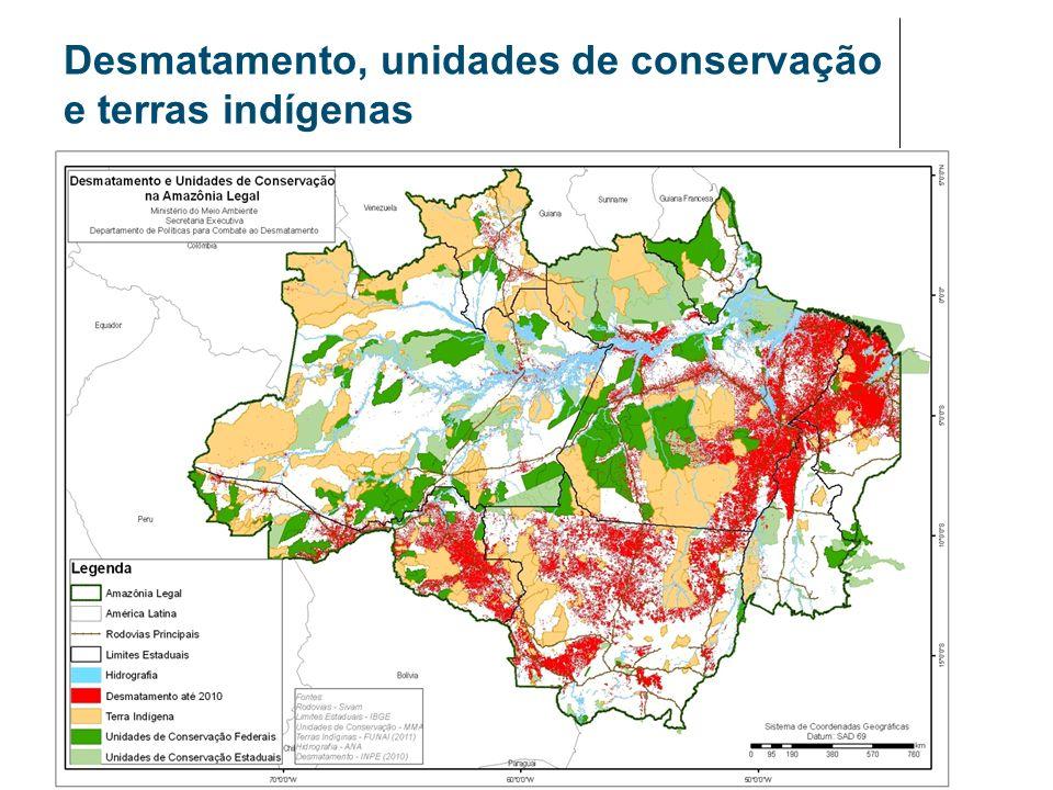 Desmatamento, unidades de conservação e terras indígenas