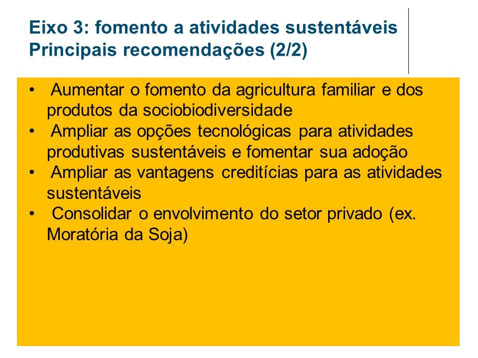 Eixo 3: fomento a atividades sustentáveis Principais recomendações (2/2)