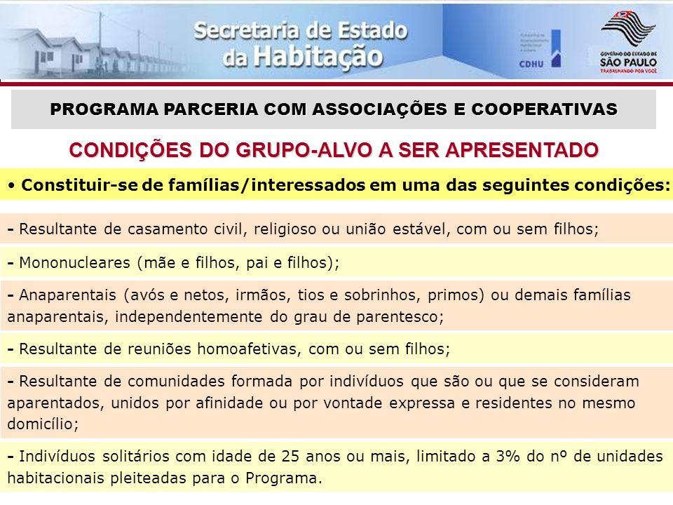 CONDIÇÕES DO GRUPO-ALVO A SER APRESENTADO
