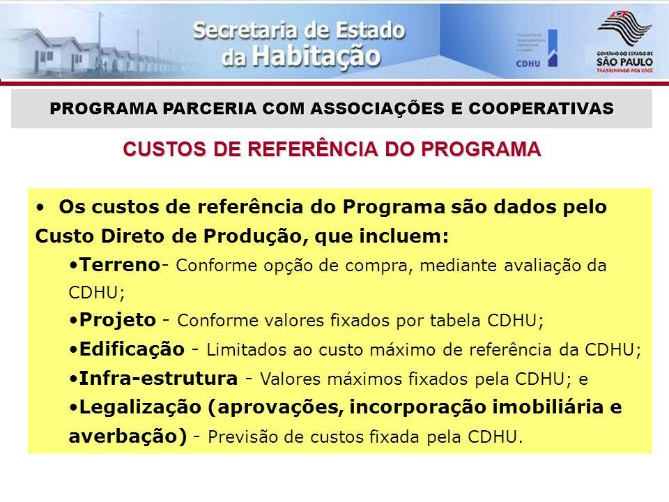 CUSTOS DE REFERÊNCIA DO PROGRAMA