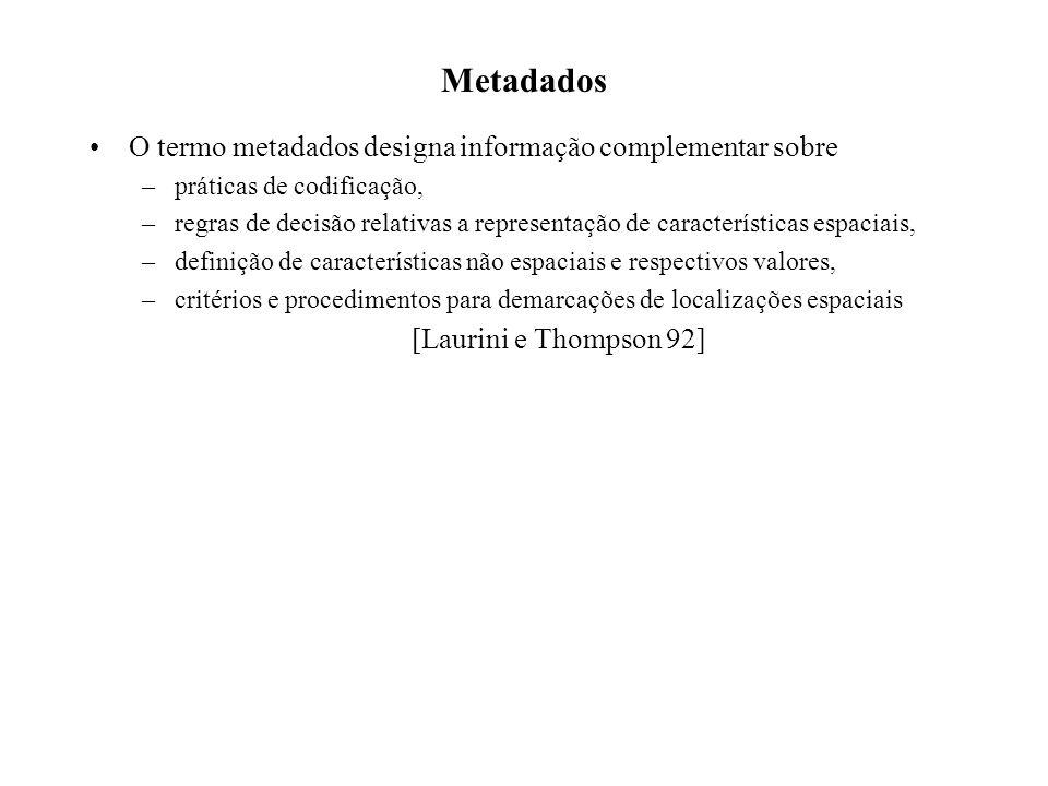 Metadados O termo metadados designa informação complementar sobre