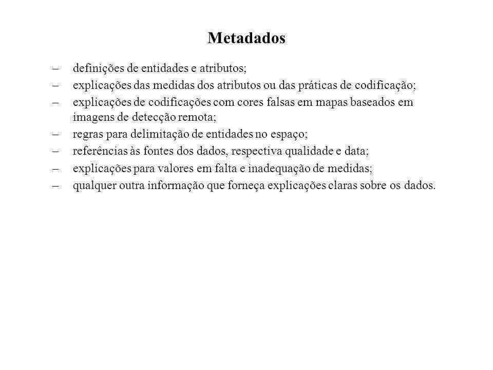 Metadados definições de entidades e atributos;