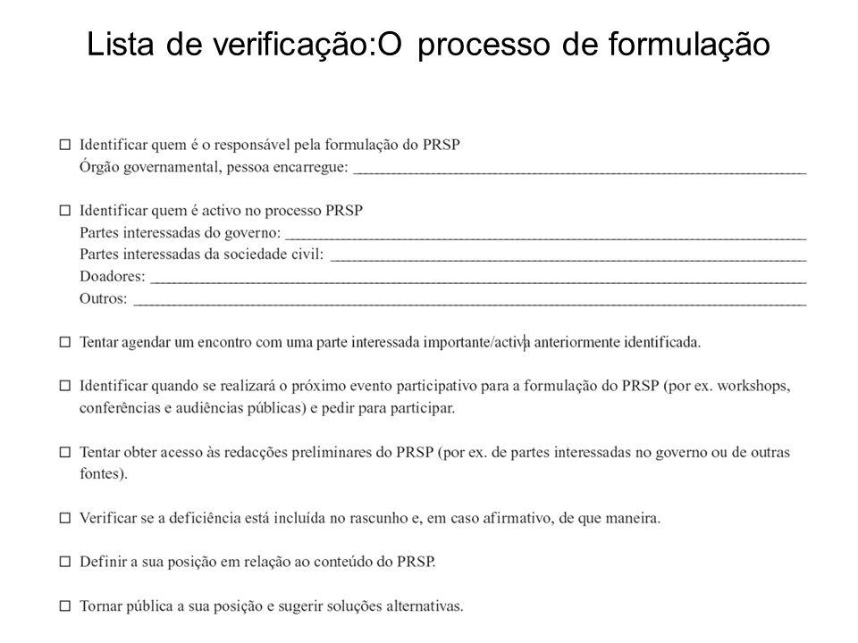 Lista de verificação:O processo de formulação