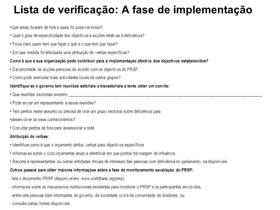 Lista de verificação: A fase de implementação