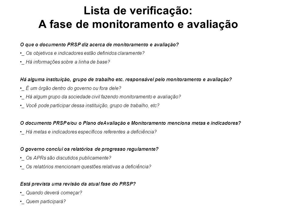 Lista de verificação: A fase de monitoramento e avaliação