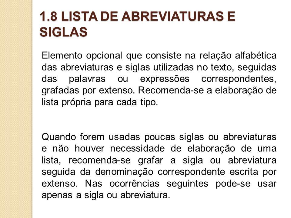 1.8 LISTA DE ABREVIATURAS E SIGLAS
