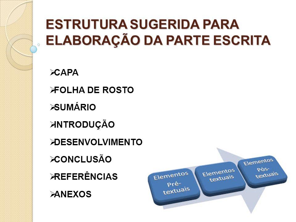 ESTRUTURA SUGERIDA PARA ELABORAÇÃO DA PARTE ESCRITA