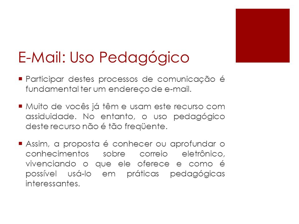 E-Mail: Uso Pedagógico