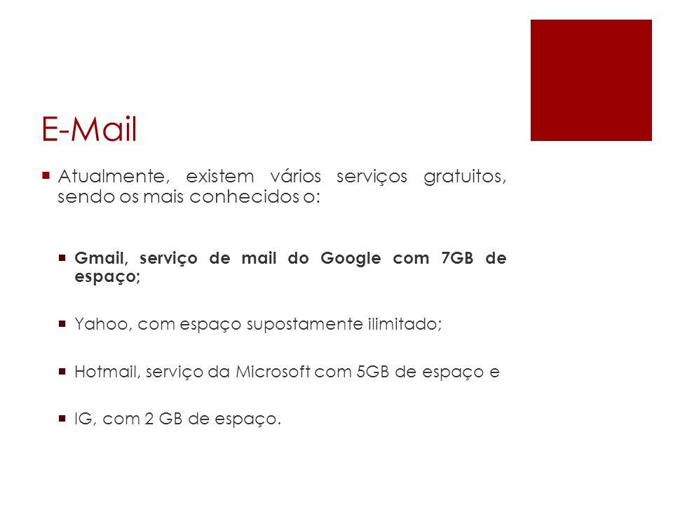 E-Mail Atualmente, existem vários serviços gratuitos, sendo os mais conhecidos o: Gmail, serviço de mail do Google com 7GB de espaço;