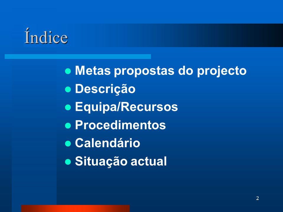 Índice Metas propostas do projecto Descrição Equipa/Recursos