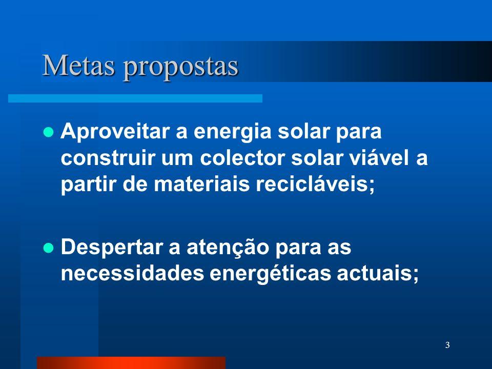 Metas propostas Aproveitar a energia solar para construir um colector solar viável a partir de materiais recicláveis;