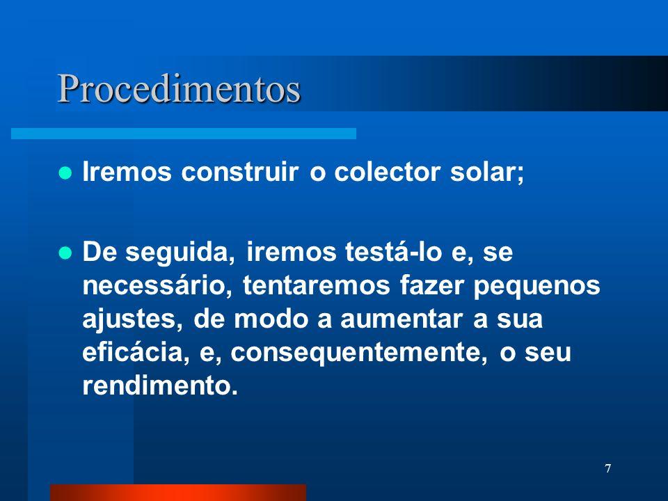 Procedimentos Iremos construir o colector solar;
